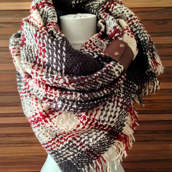 Plaid Scarf Oversized Blanket Scarf Plaid Tartan Scarf Fall Winter Fashion Accessories Valentines Day Gift Ideas For Her