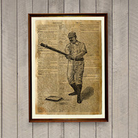 Vintage poster Baseball print Sports decor Dictionary page