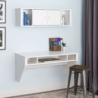 Designer Floating Desk & Hutch Set in White