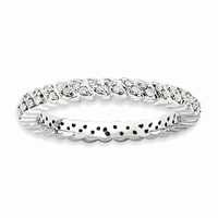 Sterling Silver Stackable Expressions Polished Diamond Ring: RingSize: 6