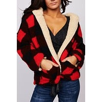Give You Joy Plaid Sherpa Reversible Jacket (Red/Black)