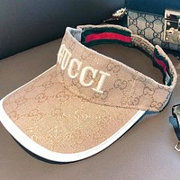 GUCCI New fashion embroidery letter more letter couple cap hat Khaki