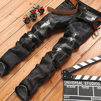 Ripped Holes Stylish Men Simple Design Pants Jeans [6528465539]
