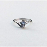 Light Blue Tanzanite and Diamond Ring - 10K White Gold