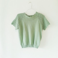 Vintage teal green sweater blouse top