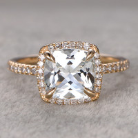 8X8mm Cushion White Topaz Engagement Ring Diamond Wedding Ring 14K Yellow Gold Curved Loop Style