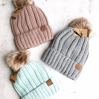 Knitted Two Tone C.C. Beanies With Pom Pom And Fuzzy Lining