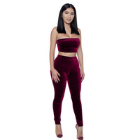 Red Strapless Crop Top Skinny Pants Set