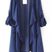 Navy Blue Lapel Asymmetrical Loose Fitting Chiffon Blouse