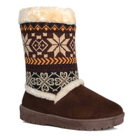 Snowflakes Printed Knit Boots with Flock