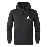 Jordan Tide brand solid color wild casual sports hooded sweater Black