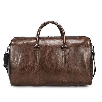 Pu leather Ladies Travel Bag Glossy Solid Color Large Capacity Portable Weekend Package Men Sports Fitness Messenger   Bag[