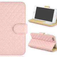 Angibabe Wallet Design Faux Leather Flip Case with Mount Stand & Credit Card Slots for 4.7'' iPhone 6 (Pink)