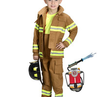 Aeromax Jr. Tan Firefighter Suit Age 6-8 with Helmet & Water Pack