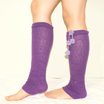 Leg warmers // purple leg warmers, FREE SHIP Ruffle Lace Boot Topper, Knitted Socks, Crochet Lace Trim