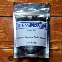 Fresh Roasted Small Batch Colombian Supremo Arabica Whole Roasted Coffee Beans Dark Roast 2 oz Sample