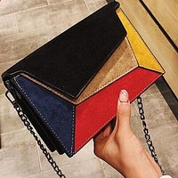 Retro Matte Patchwork Crossbody Bags For Women Small Chains Strap Shoulder Bag Lady Small Flap Criss-cross Bag