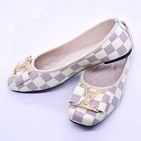 LV Louis Vuitton Popular Women Big Logo Flats Shoes Sandals Shoes White I-LLBPFSH