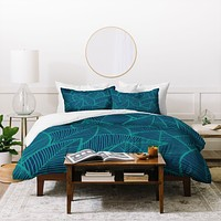 Arcturus Blue Green Leaves Duvet Cover
