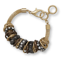8in x 1in Mesh Fashion Bracelet with Black and Gold Tone Rings