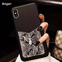 Bvlgari Fashion New Snake Texture Leather Protective Cover IPhone Phone Case Black