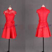 Short red lace and satin bridesmaid dresses in 2014,Chinese cheongsam bridesmaid gowns hot,cheap vintage dress for prom party.