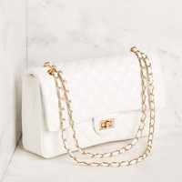 Just For Fun White Quilted Handbag
