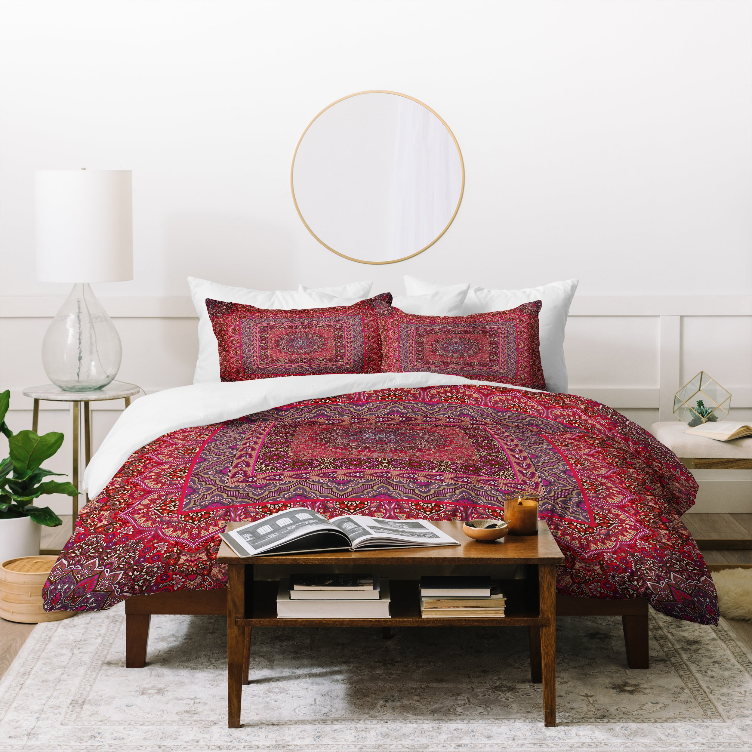 Image of Aimee St Hill Farah Squared Red Duvet Cover