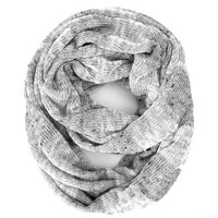 Light Grey and White Striped Sweater Knit Loop Eternity Tube Casual or Dressy Scarf Warm Cozy Scarf Light Grey White Women Teen Holiday Gift