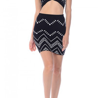 Zigzag Tribal Printed Knit Skirt
