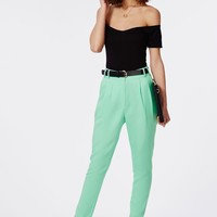 Missguided - Uttara High Waisted Tailored Belted Trouser Mint