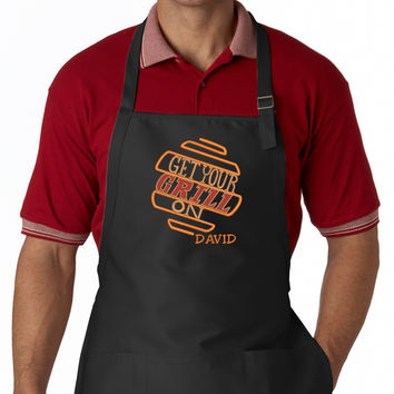 Get Your Grill On BBQ EMBROIDERED Men's Apron