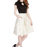 ModCloth Vintage Inspired, 50s, Scholastic Mid-length Full On a Barrel Roll Skirt in Flight