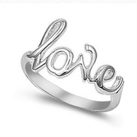 Sterling Silver Love Ring (Size 4 - 10) - Size 9
