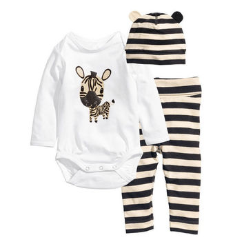 New cotton children Mickey Minnie baby boys girls sets clothes 3pcs(Long-sleeved Romper+hat+pants)