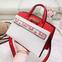 MCM sells casual red and white one-shoulder shopping bag for ladies
