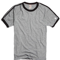 Short Sleeve Applique Stripe Tee in Salt and Pepper