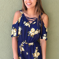 Coming Back To You Romper - Navy/Yellow