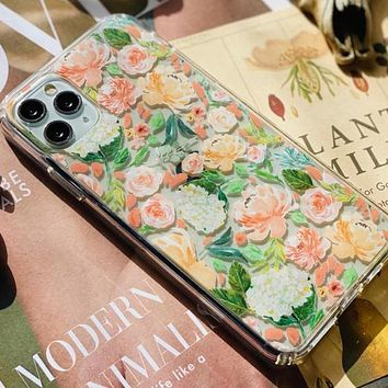Peach Watercolor Flowers Clear Phone Case