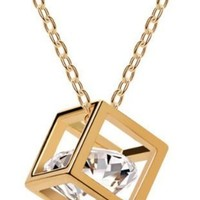 Gold Toned Crystal Cube Pendant Necklace [Jewelry]