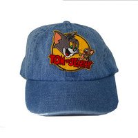 Vintage Culture Tom and Jerry Patched Dad Hat In Denim