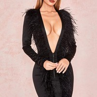 Tara Feather Front Extreme Plunge Dress