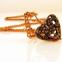 Copper Heart Floral Necklace on Long Copper Chain