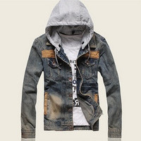 Mens Fashion Hooded jeans Parka Jacket WINTER WARM Coat Thicker jacket = 1697393540
