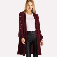 Pearl Beading Open Front Cardigan Women Knitted Sweater Elegant Outerwear Womens Bishop Sleeve Long Cardigan