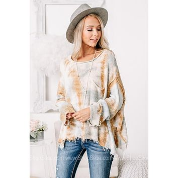 On The Frayed Side Tie Dye Knit Top | Sage