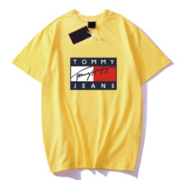 TOMMY New fashion bust letter print couple top t-shirt Yellow