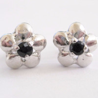 Sterling Sapphire Flower Stud Earrings