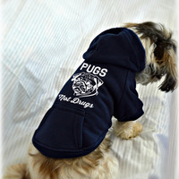 Pugs Not Drugs Dog Sweatshirt. Pug Lover Sweater. Small Warm Pet Clothes. Gift for Dog Lover.