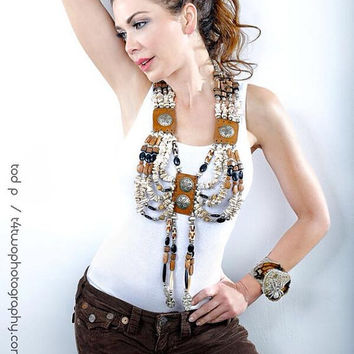 white buffalo turquoise chest statement necklace by Josette Redwolf AS seen on DECO DRIVE